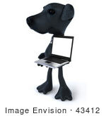 #43412 Royalty-Free (Rf) Illustration Of A 3d Black Lab Mascot With A Laptop - Version 5