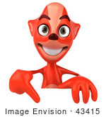 #43415 Royalty-Free (Rf) Illustration Of A 3d Red Fox Mascot Pointing Down At And Standing Behind A Blank Sign