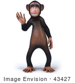 #43427 Royalty-Free (Rf) Illustration Of A 3d Chimpanzee Mascot Waving - Pose 1