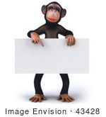 #43428 Royalty-Free (Rf) Illustration Of A 3d Chimpanzee Mascot Pointing To And Holding A Blank Sign