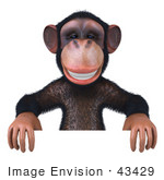 #43429 Royalty-Free (Rf) Illustration Of A 3d Chimpanzee Mascot Standing Behind And Holding Up A Sign