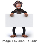 #43432 Royalty-Free (Rf) Illustration Of A 3d Chimpanzee Mascot Standing And Holding A Blank Sign