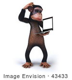 #43433 Royalty-Free (Rf) Illustration Of A 3d Chimpanzee Mascot Holding A Laptop - Version 6