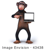 #43438 Royalty-Free (Rf) Illustration Of A 3d Chimpanzee Mascot Holding A Laptop - Version 2