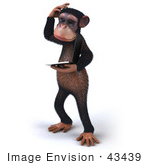 #43439 Royalty-Free (Rf) Illustration Of A 3d Chimpanzee Mascot Holding A Laptop - Version 7