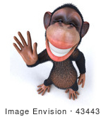 #43443 Royalty-Free (Rf) Illustration Of A 3d Chimpanzee Mascot Waving - Pose 3