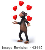 #43445 Royalty-Free (Rf) Illustration Of A 3d Chimpanzee Mascot Juggling Hearts - Version 2