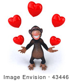 #43446 Royalty-Free (Rf) Illustration Of A 3d Chimpanzee Mascot Juggling Hearts - Version 3