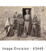 #43448 Rf Stock Photo Of A Sepia Toned Portrait Of A Ramallah Family Near A Doorway
