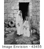 #43455 Rf Stock Photo Of Two Black And White Ramallah Peasant Women Near A Doorway