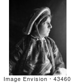 #43460 Rf Stock Photo Of A Black And White Profile Portrait Of A Ramallah Woman Wearing A Dowry Coin Headdress