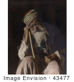 #43477 Rf Stock Photo Of A Tired Senior Arab Man Sitting And Leaning Against His Cane Yemen