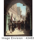 #43483 RF Stock Photo Of A Crowd Of Pedestrians On David Street, Jerusalem, Israel by JVPD