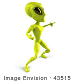 #43515 Royalty-Free (Rf) Illustration Of A 3d Green Alien Dancing - Pose 5