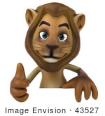 #43527 Royalty-Free (Rf) Illustration Of A 3d Lion Mascot Giving The Thumbs Up And Standing Behind A Blank Sign
