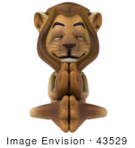 #43529 Royalty-Free (Rf) Illustration Of A 3d Lion Mascot Meditating - Pose 3