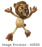 #43530 Royalty-Free (Rf) Illustration Of A 3d Lion Mascot Jumping - Pose 1