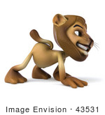 #43531 Royalty-Free (Rf) Illustration Of A 3d Lion Mascot Walking On All Fours - Pose 3