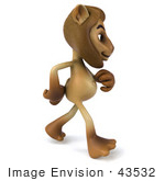 #43532 Royalty-Free (Rf) Illustration Of A 3d Lion Mascot Walking To The Right