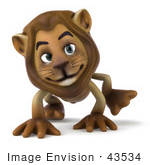 #43534 Royalty-Free (Rf) Illustration Of A 3d Lion Mascot Walking On All Fours - Pose 2