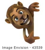 #43539 Royalty-Free (Rf) Illustration Of A 3d Lion Mascot Pointing To And Looking Around A Blank Sign