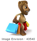 #43540 Royalty-Free (Rf) Illustration Of A 3d Lion Mascot Carrying Shopping Bags - Pose 1