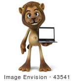 #43541 Royalty-Free (Rf) Illustration Of A 3d Lion Mascot Presenting A Laptop - Pose 1