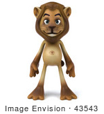 #43543 Royalty-Free (Rf) Illustration Of A 3d Lion Mascot Standing And Facing Front