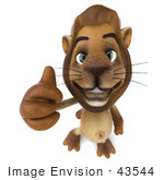 #43544 Royalty-Free (Rf) Illustration Of A 3d Lion Mascot Giving The Thumbs Up - Pose 3