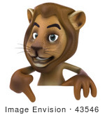 #43546 Royalty-Free (Rf) Illustration Of A 3d Lion Mascot Pointing To And Standing Behind A Blank Sign