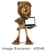 #43548 Royalty-Free (Rf) Illustration Of A 3d Lion Mascot Presenting A Laptop - Pose 2