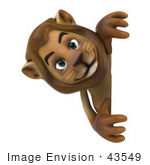 #43549 Royalty-Free (Rf) Illustration Of A 3d Lion Mascot Looking Around A Blank Sign