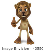 #43550 Royalty-Free (Rf) Illustration Of A 3d Lion Mascot Giving The Thumbs Up - Pose 1