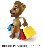 #43553 Royalty-Free (Rf) Illustration Of A 3d Lion Mascot Carrying Shopping Bags - Pose 2