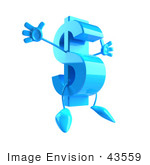 #43559 Royalty-Free (Rf) Illustration Of A Jumping 3d Blue Dollar Sign Mascot With Arms And Legs