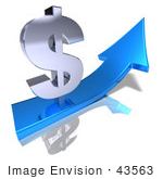 #43563 Royalty-Free (Rf) Illustration Of A 3d Silver Dollar Sign On Top Of A Blue Arrow - Version 1