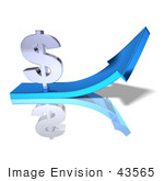 #43565 Royalty-Free (Rf) Illustration Of A 3d Silver Dollar Sign On Top Of A Blue Arrow - Version 2