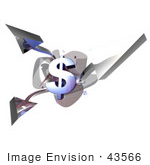 #43566 Royalty-Free (Rf) Illustration Of A 3d Dollar Symbols With Three Branching Arrows - Version 2