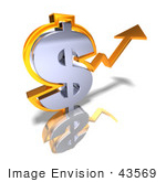 #43569 Royalty-Free (Rf) Illustration Of A 3d Orange Arrow Forming Around A Dollar Sign - Version 2