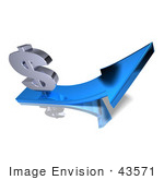 #43571 Royalty-Free (Rf) Illustration Of A 3d Silver Dollar Sign On Top Of A Blue Arrow - Version 3