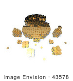 #43578 Royalty-Free (Rf) Illustration Of A 3d Dollar Sign Formed Of Golden Coins - Version 6