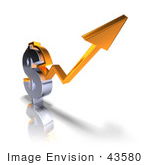 #43580 Royalty-Free (Rf) Illustration Of A 3d Orange Arrow Forming Around A Dollar Sign - Version 1