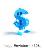 #43581 Royalty-Free (Rf) Illustration Of A 3d Blue Dollar Sign Mascot With Arms And Legs