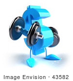 #43582 Royalty-Free (Rf) Illustration Of A 3d Blue Dollar Sign Mascot Lifting Weights
