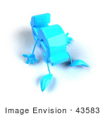 #43583 Royalty-Free (Rf) Illustration Of A 3d Blue Dollar Sign Mascot With Arms And Legs Laying On The Floor - Version 2
