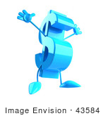 #43584 Royalty-Free (Rf) Illustration Of A Leaping 3d Blue Dollar Sign Mascot With Arms And Legs