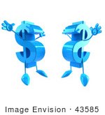 #43585 Royalty-Free (Rf) Illustration Of Two Blue Jumping 3d Dollar Symbols With Arms And Legs