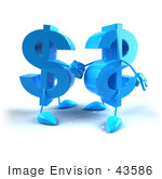 #43586 Royalty-Free (Rf) Illustration Of Two Blue 3d Dollar Symbols Shaking Hands