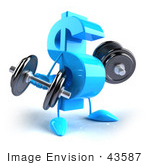 #43587 Royalty-Free (Rf) Illustration Of A 3d Blue Dollar Sign Mascot Lifting Dumbbells