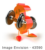 #43590 Royalty-Free (Rf) Illustration Of A 3d Orange Dollar Sign Mascot Lifting Weights